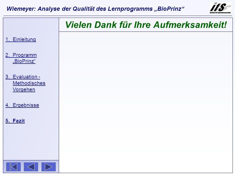 1.Einleitung 2.Programm BioPrinz 3.Evaluation - Methodisches Vorgehen 4.Ergebnisse 5.Fazit Vielen Dank für Ihre Aufmerksamkeit! Wiemeyer: Analyse der
