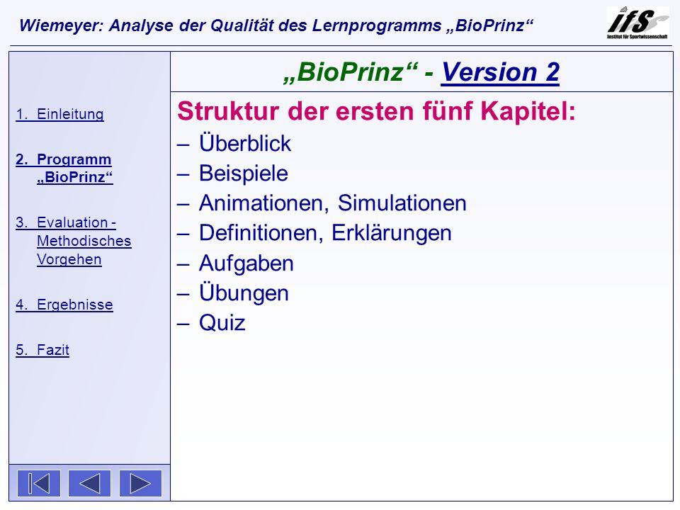 Struktur der ersten fünf Kapitel: –Überblick –Beispiele –Animationen, Simulationen –Definitionen, Erklärungen –Aufgaben –Übungen –Quiz 1.Einleitung 2.