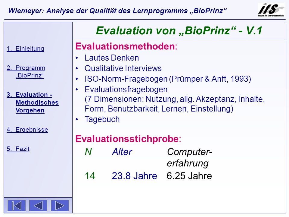 Evaluationsmethoden: Lautes Denken Qualitative Interviews ISO-Norm-Fragebogen (Prümper & Anft, 1993) Evaluationsfragebogen (7 Dimensionen: Nutzung, al