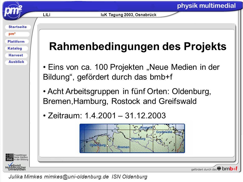 Julika Mimkes mimkes@uni-oldenburg.de ISN Oldenburg Rahmenbedingungen des Projekts LiLi IuK Tagung 2003, Osnabrück Startseite pm² Plattform Katalog Harvest Ausblick Eins von ca.