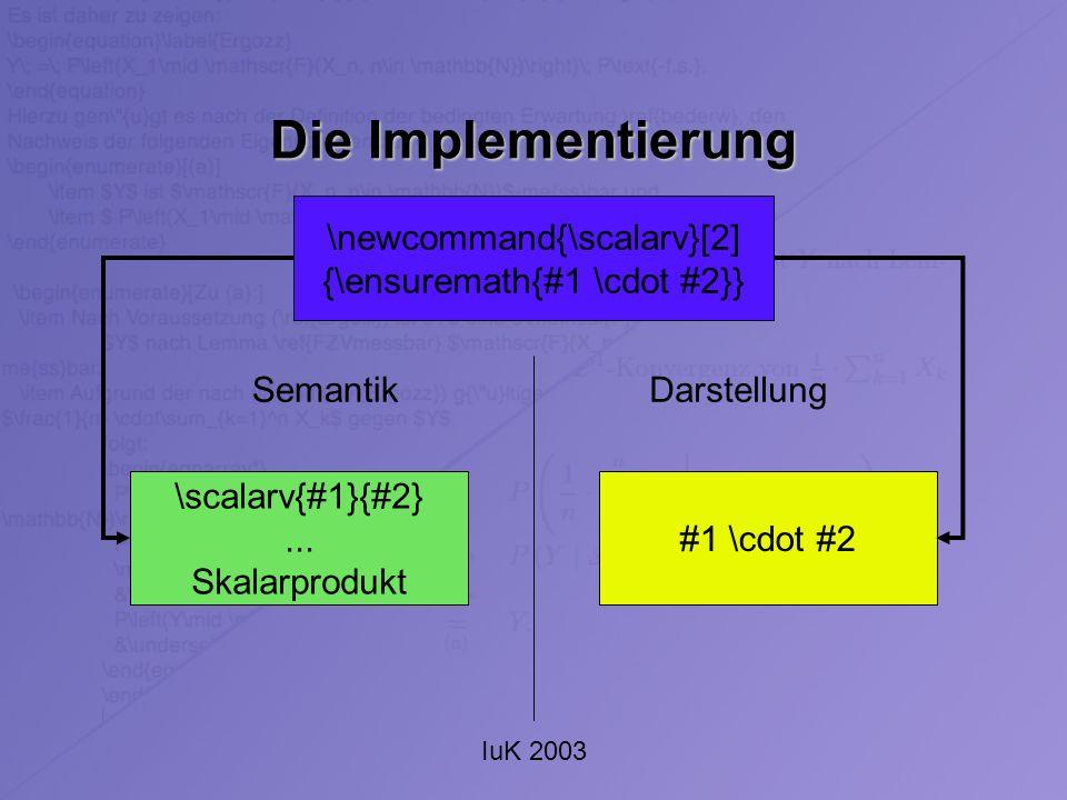 IuK 2003 Die Implementierung \newcommand{\scalarv}[2] {\ensuremath{#1 \cdot #2}} DarstellungSemantik #1 \cdot #2 \scalarv{#1}{#2}... Skalarprodukt