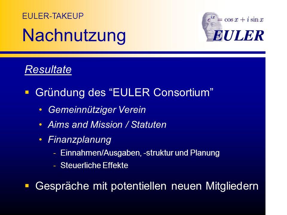 EULER-TAKEUP Nachnutzung Resultate Gründung des EULER Consortium Gemeinnütziger Verein Aims and Mission / Statuten Finanzplanung -Einnahmen/Ausgaben, -struktur und Planung -Steuerliche Effekte Gespräche mit potentiellen neuen Mitgliedern