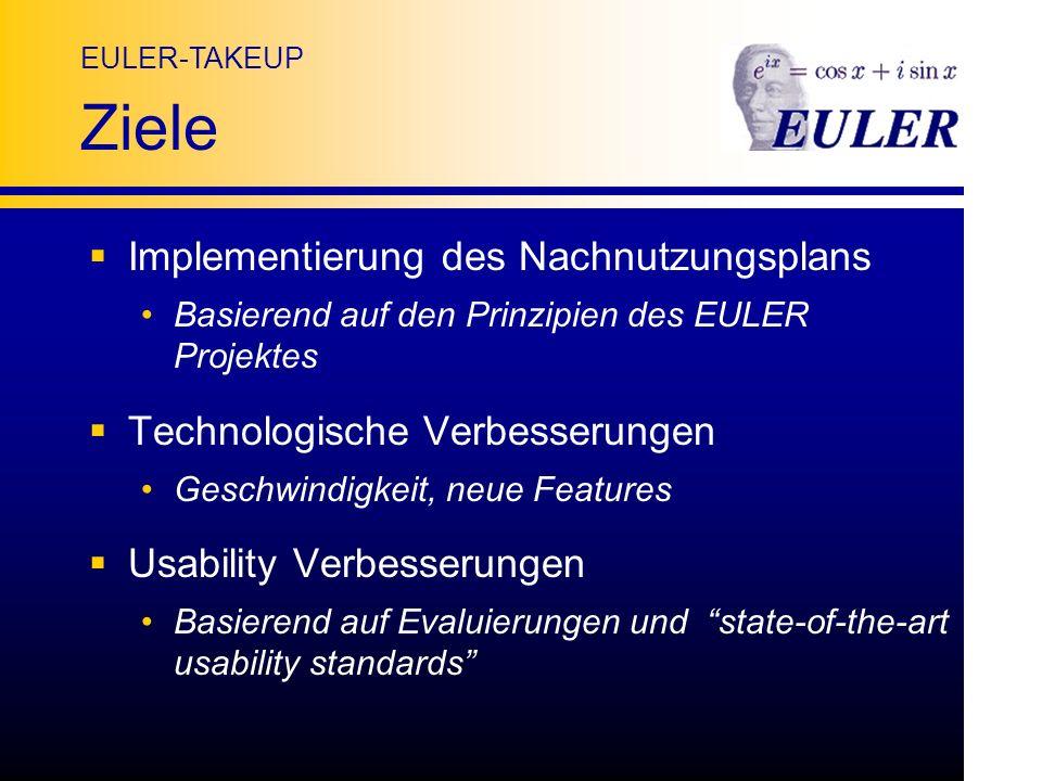 EULER-TAKEUP Ziele Implementierung des Nachnutzungsplans Basierend auf den Prinzipien des EULER Projektes Technologische Verbesserungen Geschwindigkeit, neue Features Usability Verbesserungen Basierend auf Evaluierungen und state-of-the-art usability standards
