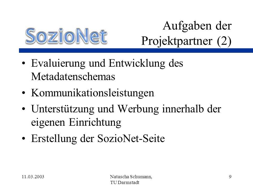 11.03.2003Natascha Schumann, TU Darmstadt 20 Metadatenschema