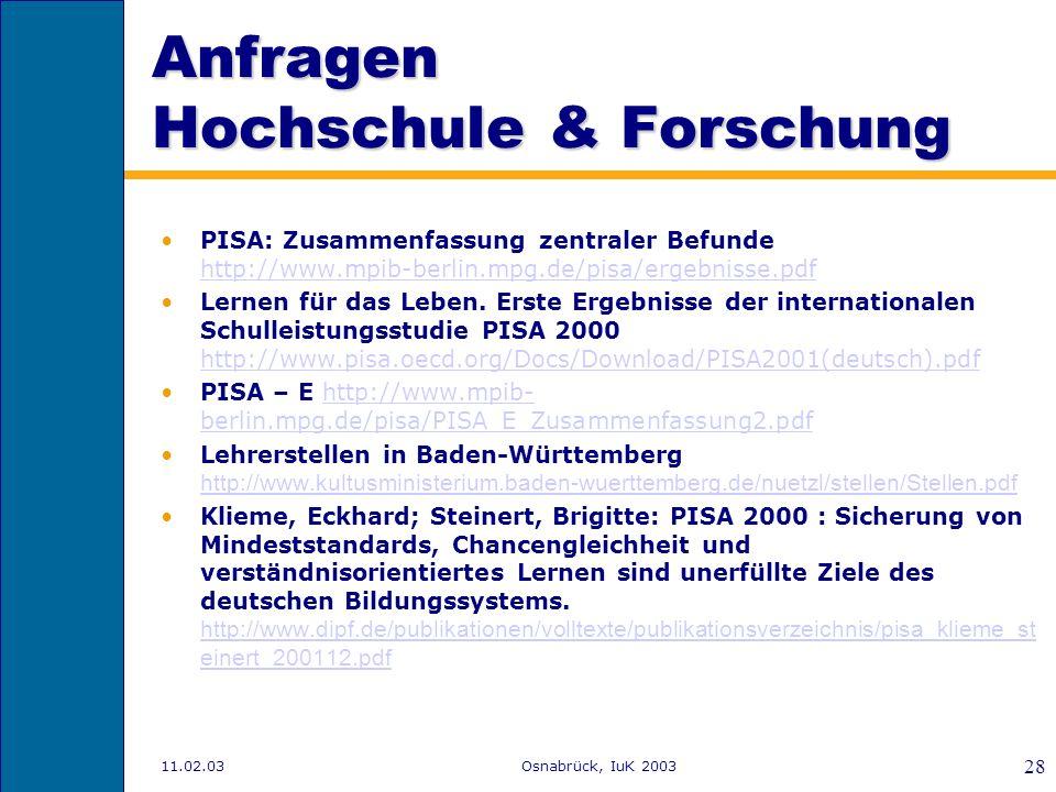 11.02.03Osnabrück, IuK 2003 27 Verzeichnisse