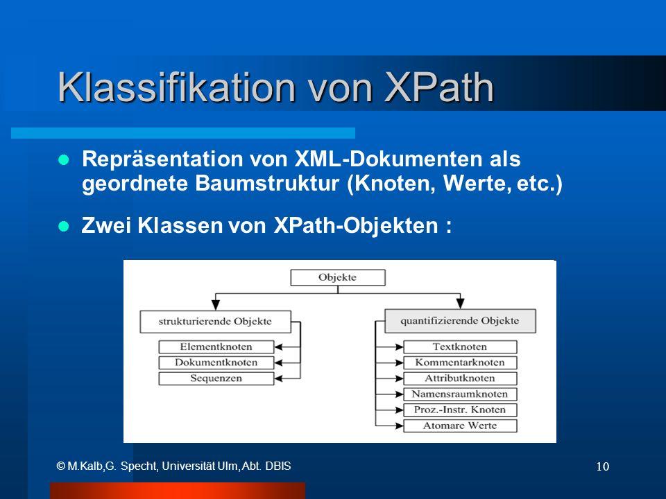 © M.Kalb,G. Specht, Universität Ulm, Abt. DBIS 10 Klassifikation von XPath Repräsentation von XML-Dokumenten als geordnete Baumstruktur (Knoten, Werte