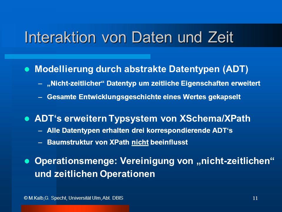 © M.Kalb,G. Specht, Universität Ulm, Abt. DBIS 11 Interaktion von Daten und Zeit Modellierung durch abstrakte Datentypen (ADT) –Nicht-zeitlicher Daten