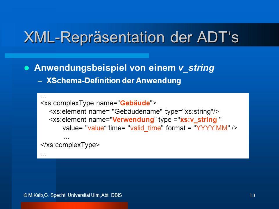 © M.Kalb,G. Specht, Universität Ulm, Abt. DBIS 13 XML-Repräsentation der ADTs Anwendungsbeispiel von einem v_string –XSchema-Definition der Anwendung.