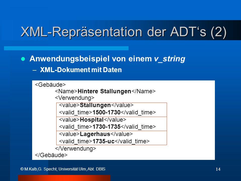 © M.Kalb,G. Specht, Universität Ulm, Abt. DBIS 14 XML-Repräsentation der ADTs (2) Anwendungsbeispiel von einem v_string –XML-Dokument mit Daten Hinter