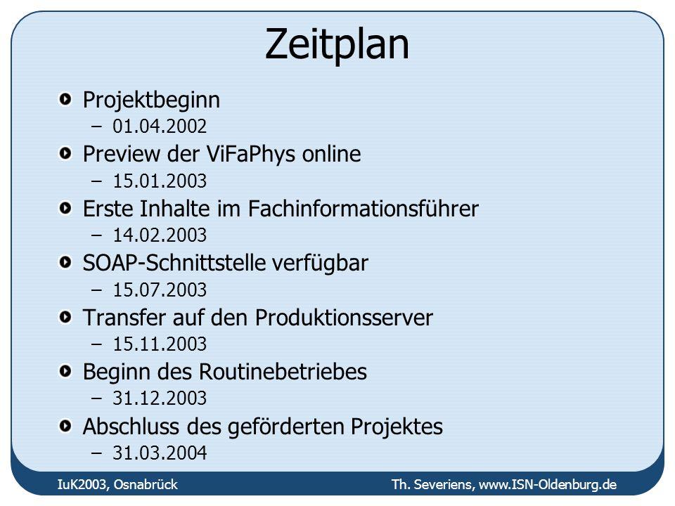 IuK2003, Osnabrück Th. Severiens, www.ISN-Oldenburg.de Zeitplan Projektbeginn –01.04.2002 Preview der ViFaPhys online –15.01.2003 Erste Inhalte im Fac