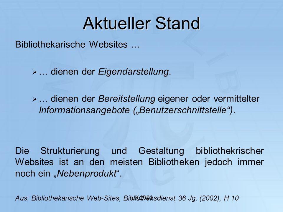 IuK 2003 Aktueller Stand Bibliothekarische Websites … … dienen der Eigendarstellung. … dienen der Bereitstellung eigener oder vermittelter Information