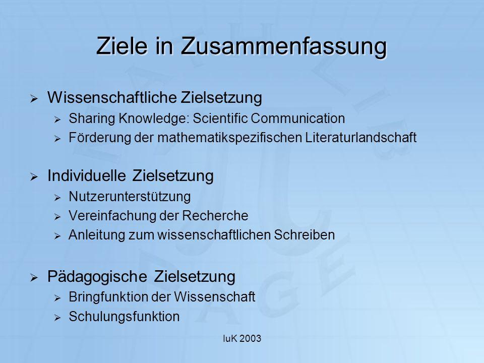 IuK 2003 Ziele in Zusammenfassung Wissenschaftliche Zielsetzung Sharing Knowledge: Scientific Communication Förderung der mathematikspezifischen Liter