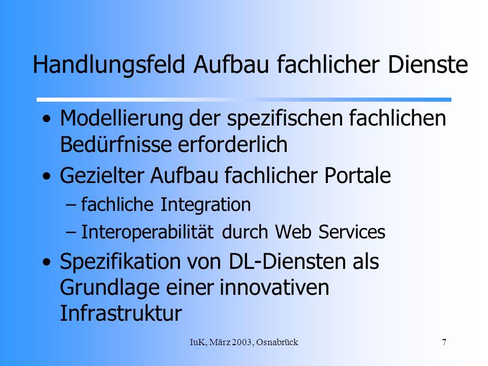 IuK, März 2003, Osnabrück7 Handlungsfeld Aufbau fachlicher Dienste Modellierung der spezifischen fachlichen Bedürfnisse erforderlich Gezielter Aufbau fachlicher Portale –fachliche Integration –Interoperabilität durch Web Services Spezifikation von DL-Diensten als Grundlage einer innovativen Infrastruktur