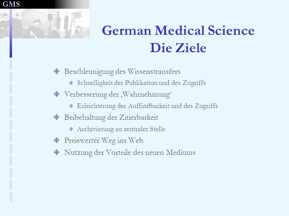 GMS German Medical Science Die Ziele Beschleunigung des Wissenstransfers Schnelligkeit der Publikation und des Zugriffs Verbesserung der Wahrnehmung E