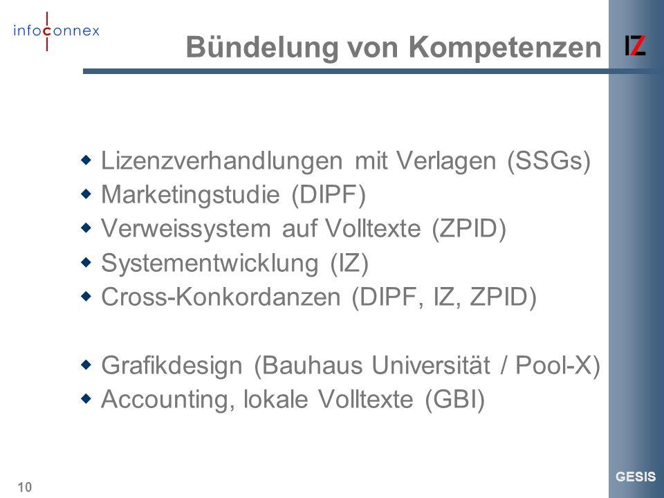 10 GESIS Bündelung von Kompetenzen Lizenzverhandlungen mit Verlagen (SSGs) Marketingstudie (DIPF) Verweissystem auf Volltexte (ZPID) Systementwicklung