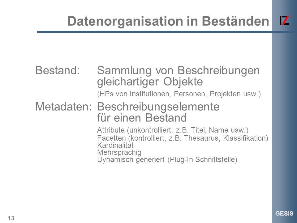 13 GESIS Datenorganisation in Beständen Bestand:Sammlung von Beschreibungen gleichartiger Objekte (HPs von Institutionen, Personen, Projekten usw.) Me