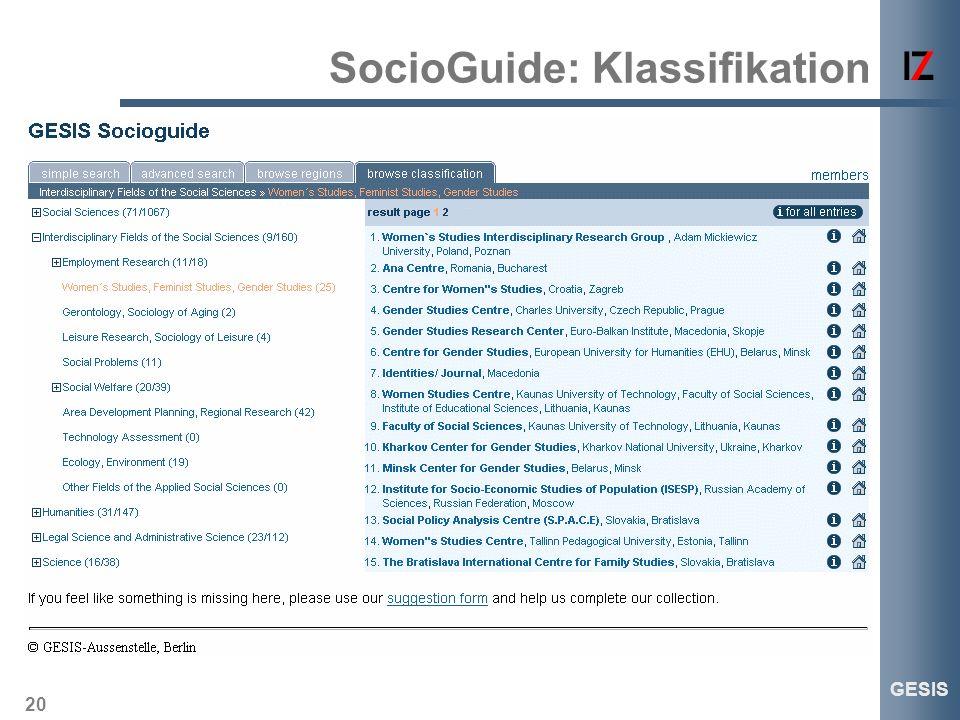 20 GESIS SocioGuide: Klassifikation