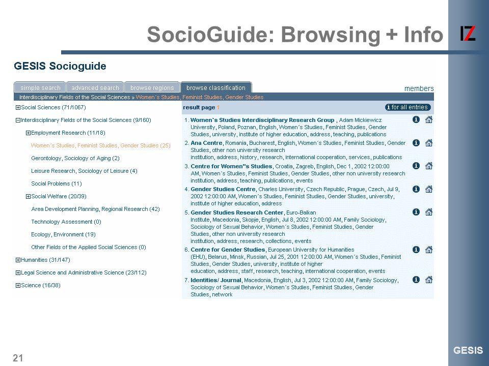 21 GESIS SocioGuide: Browsing + Info