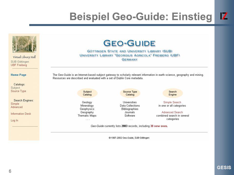 6 GESIS Beispiel Geo-Guide: Einstieg