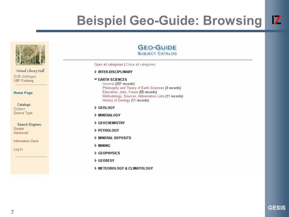 7 GESIS Beispiel Geo-Guide: Browsing