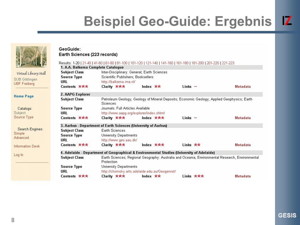 8 GESIS Beispiel Geo-Guide: Ergebnis