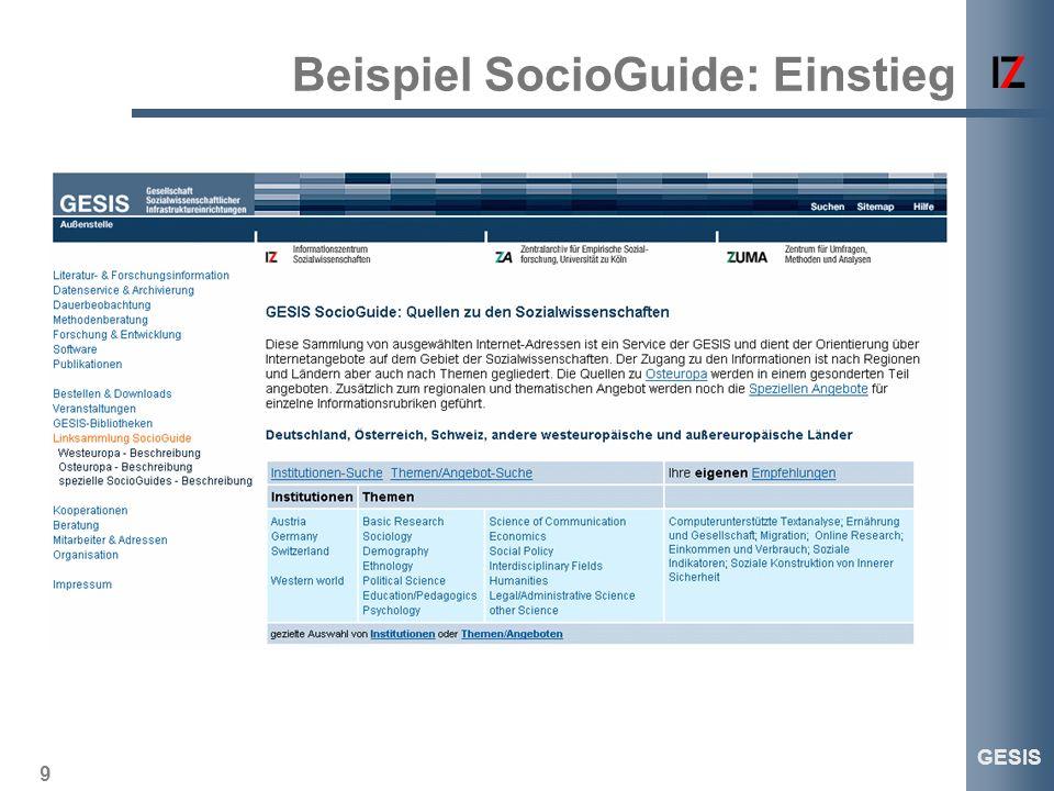 9 GESIS Beispiel SocioGuide: Einstieg