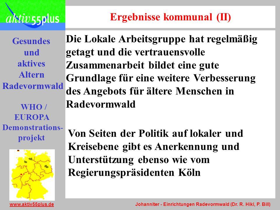 Gesundes und aktives Altern Radevormwald WHO / EUROPA Demonstrations- projekt www.aktiv55plus.dewww.aktiv55plus.de Johanniter - Einrichtungen Radevorm