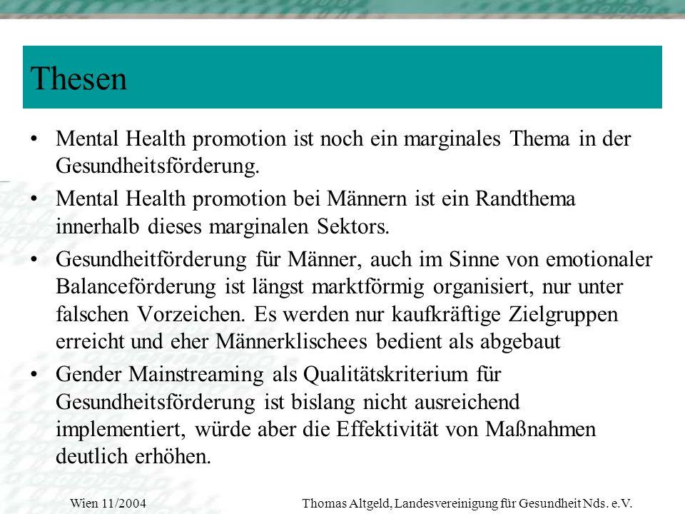 Wien 11/2004Thomas Altgeld, Landesvereinigung für Gesundheit Nds. e.V. Schlußfolgerungen