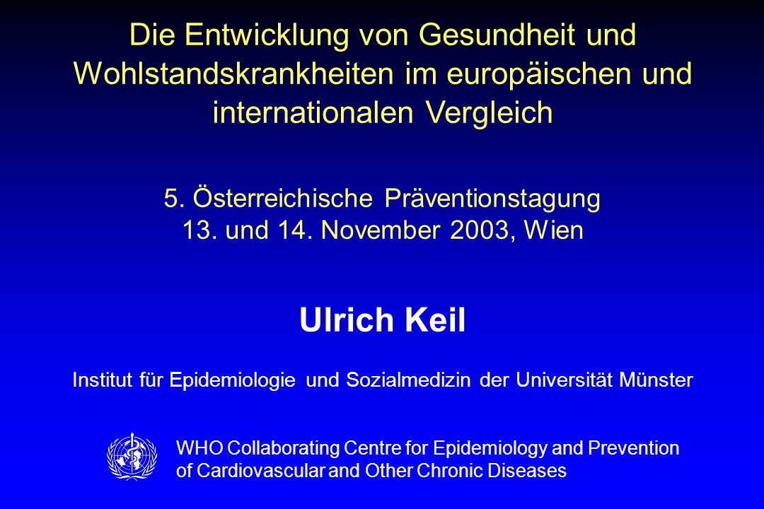 AS\10\03: Präventionstagung_Wien01.ppt Vitale Gesellschaft – Wien 2003 Relative risks (95% CI) of CHD Mortality per 20 mg/dL cholesterol increase* in six cohorts of the Seven Countries Study (n = 12,467 men aged 40–59 years) * Adjusted for age, smoking, and systolic blood pressure; $ Based on average regression dilution factor of 1.4 Source: Verschuren et al.