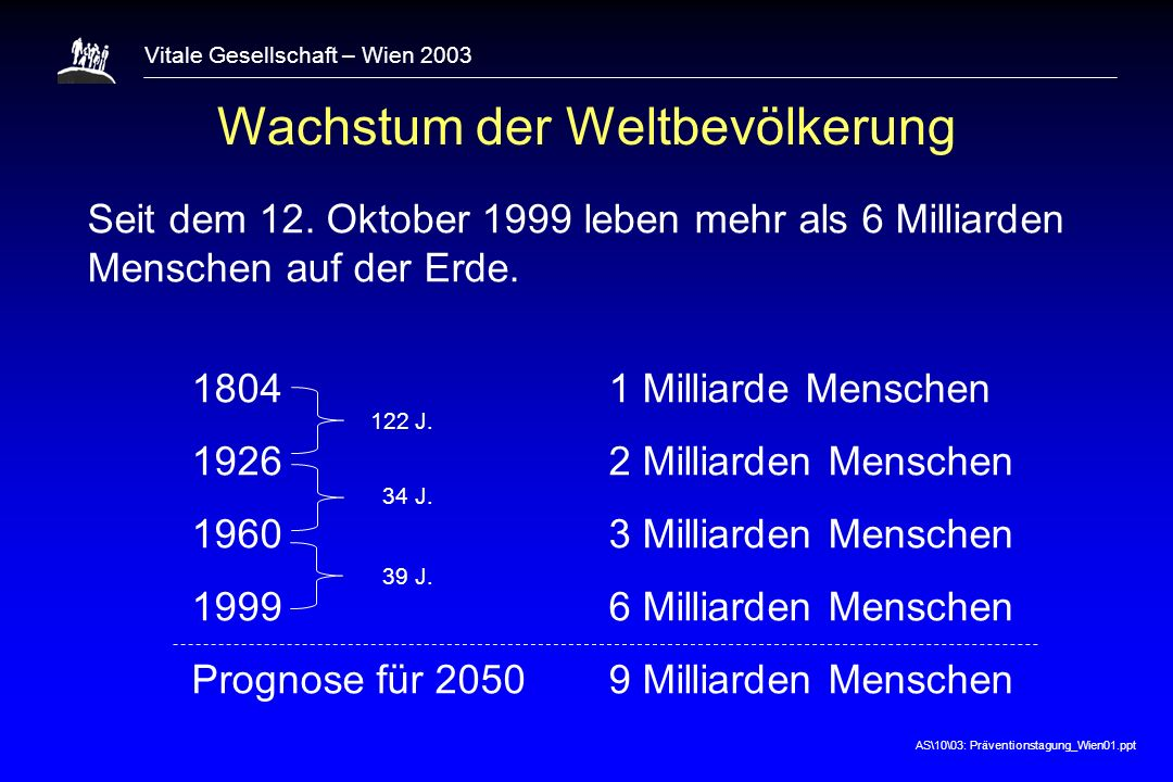 AS\10\03: Präventionstagung_Wien01.ppt Vitale Gesellschaft – Wien 2003 The primary determinants of disease are mainly economic and social, and therefore its remedies must also be economic and social.