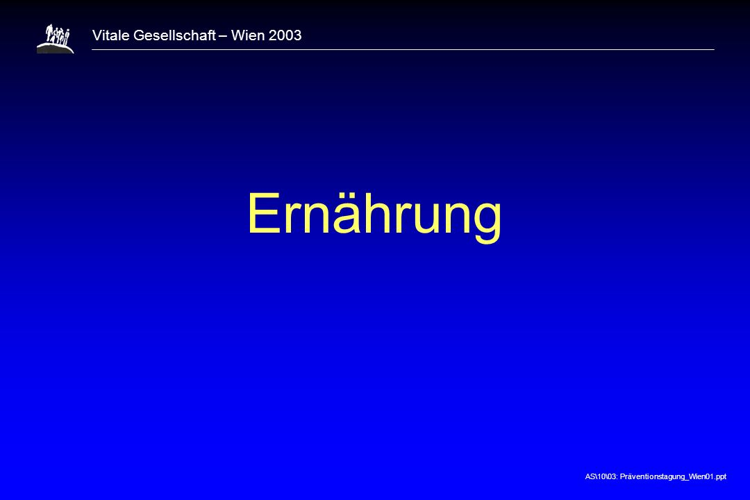 AS\10\03: Präventionstagung_Wien01.ppt Vitale Gesellschaft – Wien 2003 Ernährung