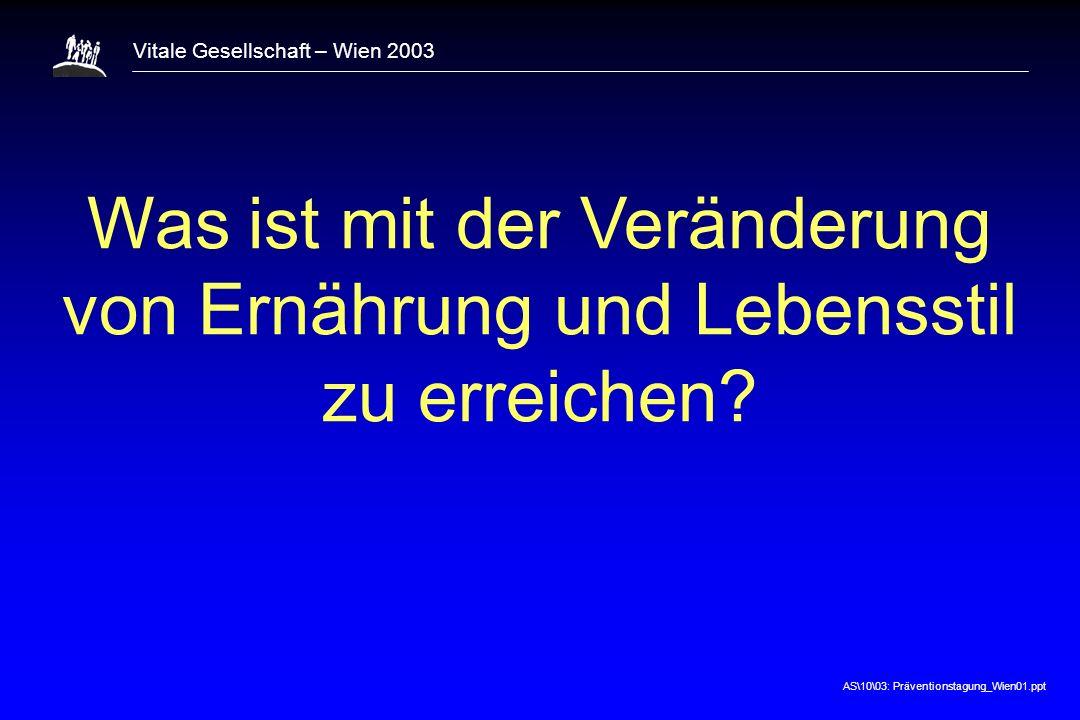 AS\10\03: Präventionstagung_Wien01.ppt Vitale Gesellschaft – Wien 2003 Was ist mit der Veränderung von Ernährung und Lebensstil zu erreichen?