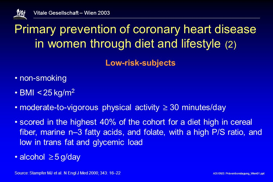 AS\10\03: Präventionstagung_Wien01.ppt Vitale Gesellschaft – Wien 2003 Primary prevention of coronary heart disease in women through diet and lifestyl