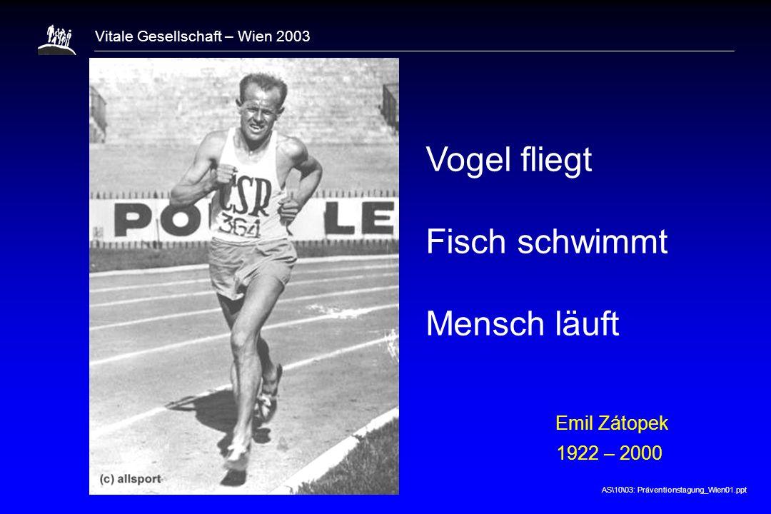 AS\10\03: Präventionstagung_Wien01.ppt Vitale Gesellschaft – Wien 2003 Vogel fliegt Fisch schwimmt Mensch läuft Emil Zátopek 1922 – 2000