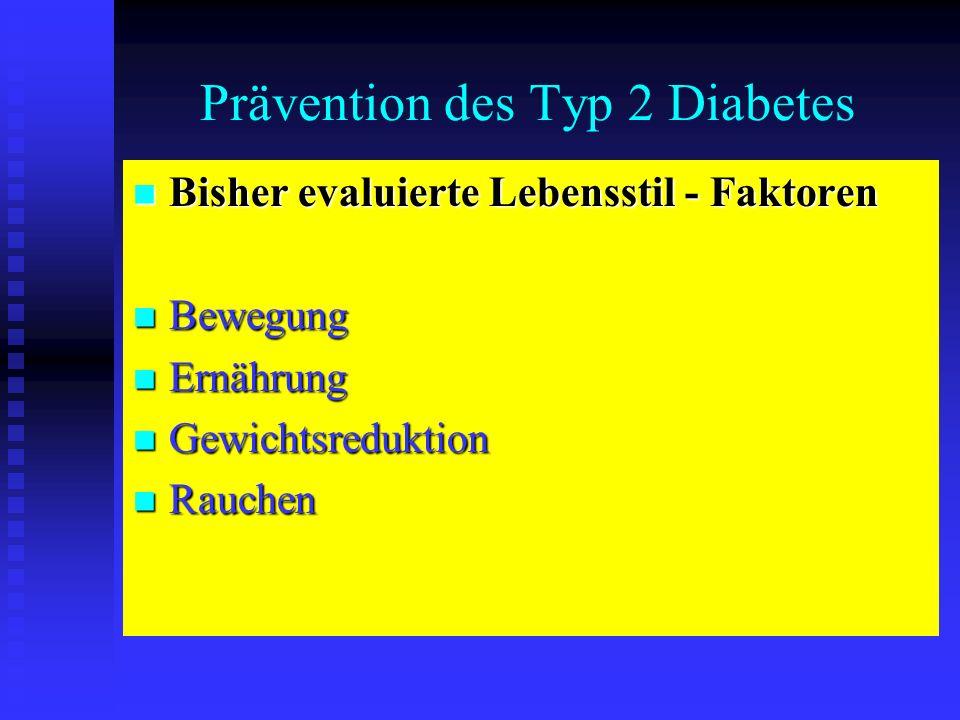 Prävention des Typ 2 Diabetes Bisher evaluierte Lebensstil - Faktoren Bisher evaluierte Lebensstil - Faktoren Bewegung Bewegung Ernährung Ernährung Ge