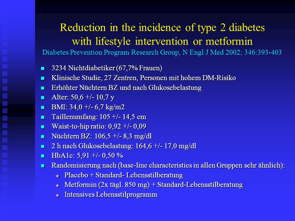 Reduction in the incidence of type 2 diabetes with lifestyle intervention or metformin Diabetes Prevention Program Research Group, N Engl J Med 2002; 346:393-403 3234 Nichtdiabetiker (67,7% Frauen) 3234 Nichtdiabetiker (67,7% Frauen) Klinische Studie, 27 Zentren, Personen mit hohem DM-Risiko Klinische Studie, 27 Zentren, Personen mit hohem DM-Risiko Erhöhter Nüchtern BZ und nach Glukosebelastung Erhöhter Nüchtern BZ und nach Glukosebelastung Alter: 50,6 +/- 10,7 y Alter: 50,6 +/- 10,7 y BMI: 34,0 +/- 6,7 kg/m2 BMI: 34,0 +/- 6,7 kg/m2 Taillenumfang: 105 +/- 14,5 cm Taillenumfang: 105 +/- 14,5 cm Waist-to-hip ratio: 0,92 +/- 0,09 Waist-to-hip ratio: 0,92 +/- 0,09 Nüchtern BZ: 106,5 +/- 8,3 mg/dl Nüchtern BZ: 106,5 +/- 8,3 mg/dl 2 h nach Glukosebelastung: 164,6 +/- 17,0 mg/dl 2 h nach Glukosebelastung: 164,6 +/- 17,0 mg/dl HbA1c: 5,91 +/- 0,50 % HbA1c: 5,91 +/- 0,50 % Randomisierung nach (base-line characteristics in allen Gruppen sehr ähnlich): Randomisierung nach (base-line characteristics in allen Gruppen sehr ähnlich): Placebo + Standard- Lebensstilberatung Placebo + Standard- Lebensstilberatung Metformin (2x tägl.