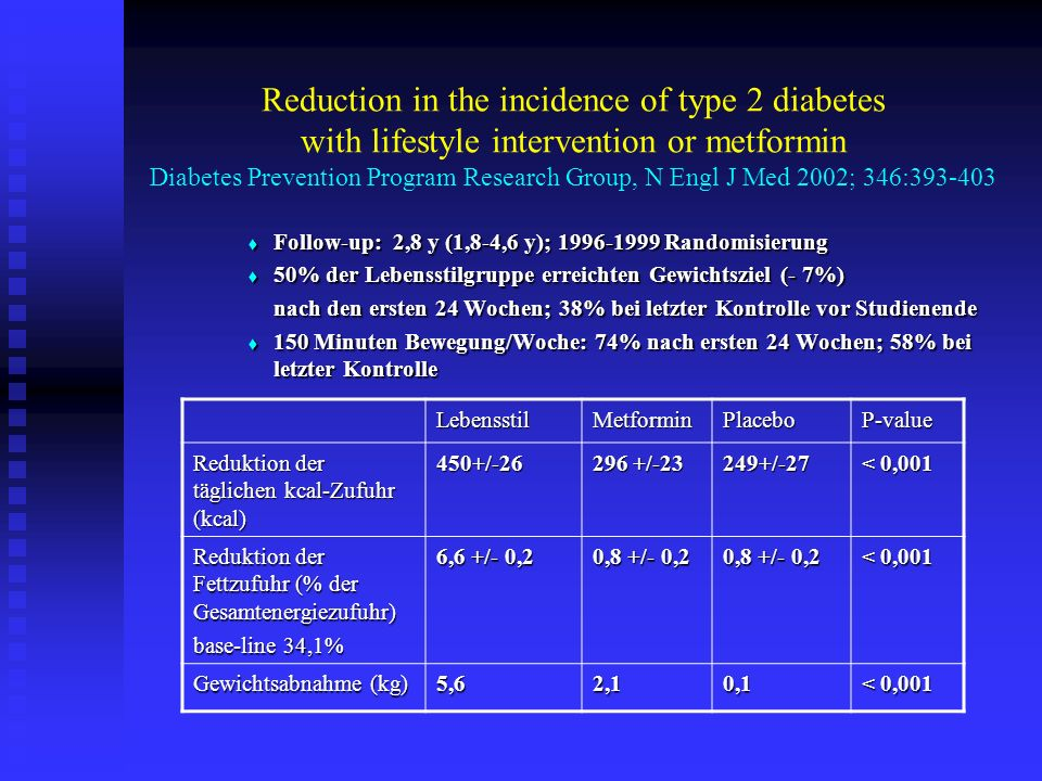 Reduction in the incidence of type 2 diabetes with lifestyle intervention or metformin Diabetes Prevention Program Research Group, N Engl J Med 2002;