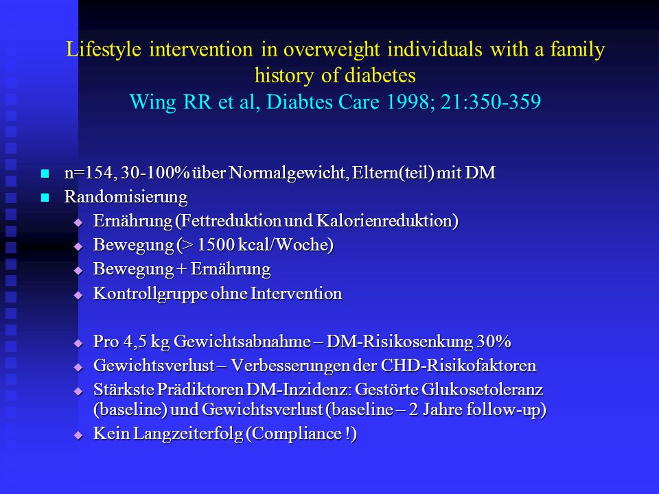 Lifestyle intervention in overweight individuals with a family history of diabetes Wing RR et al, Diabtes Care 1998; 21:350-359 n=154, 30-100% über No