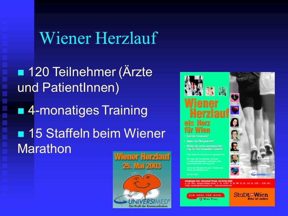 Wiener Herzlauf 120 Teilnehmer (Ärzte und PatientInnen) 4-monatiges Training 15 Staffeln beim Wiener Marathon