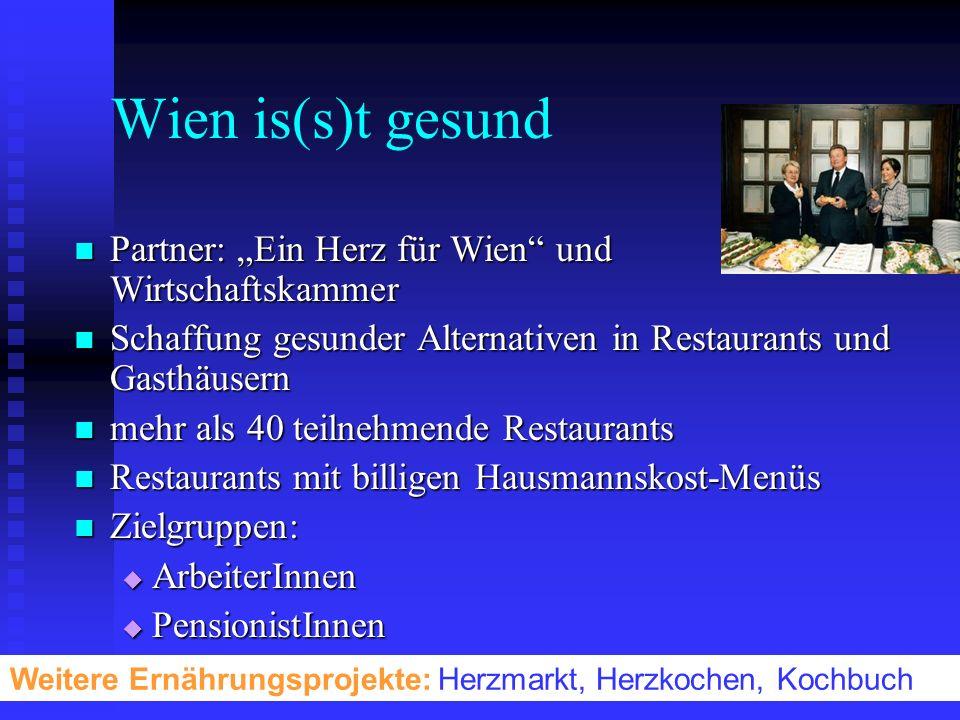 Wien is(s)t gesund Partner: Ein Herz für Wien und Wirtschaftskammer Partner: Ein Herz für Wien und Wirtschaftskammer Schaffung gesunder Alternativen i