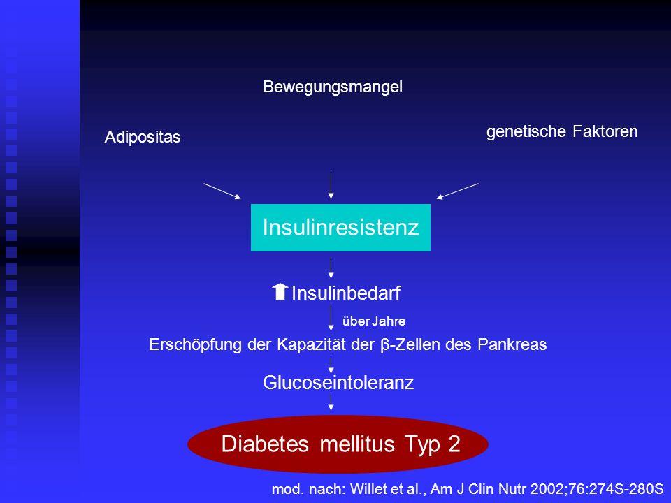 Insulinresistenz Bewegungsmangel genetische Faktoren Adipositas Insulinbedarf Erschöpfung der Kapazität der β-Zellen des Pankreas Glucoseintoleranz Di