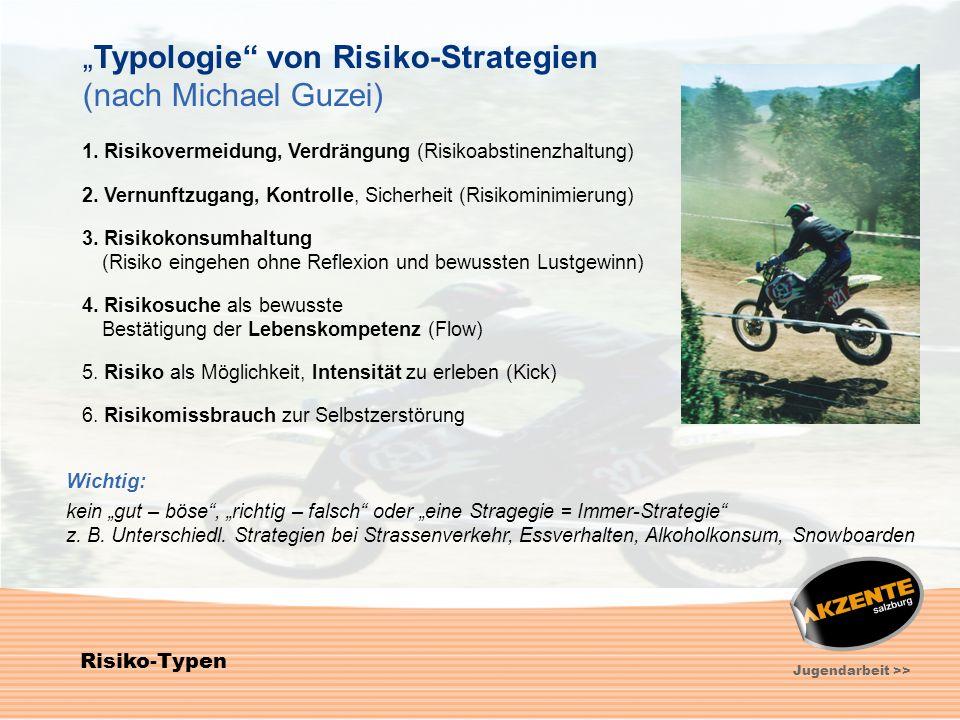 7 Jugendarbeit >> Risiko-Typen Typologie von Risiko-Strategien (nach Michael Guzei) 1. Risikovermeidung, Verdrängung (Risikoabstinenzhaltung) 2. Vernu
