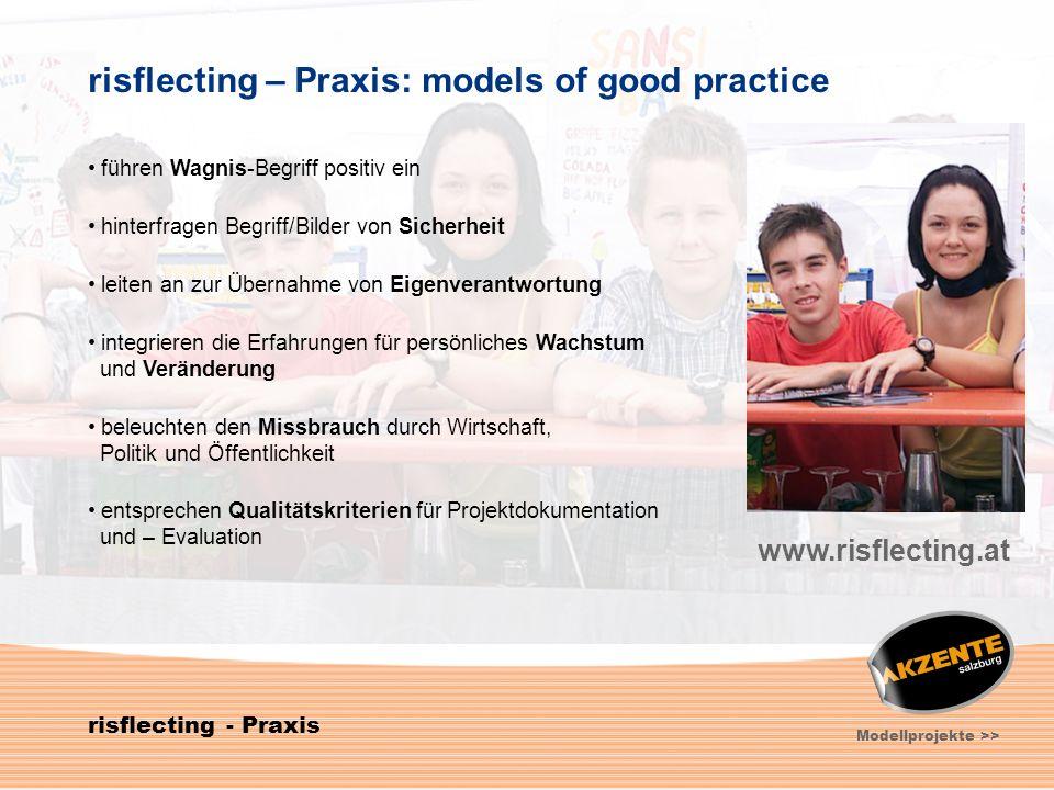 9 risflecting - Praxis Modellprojekte >> risflecting – Praxis: models of good practice führen Wagnis-Begriff positiv ein hinterfragen Begriff/Bilder v