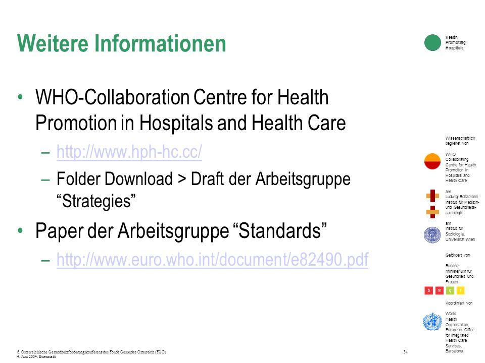 Wissenschaftlich begleitet von WHO Collaborating Centre for Health Promotion in Hospitals and Health Care am Ludwig Boltzmann Institut für Medizin- un