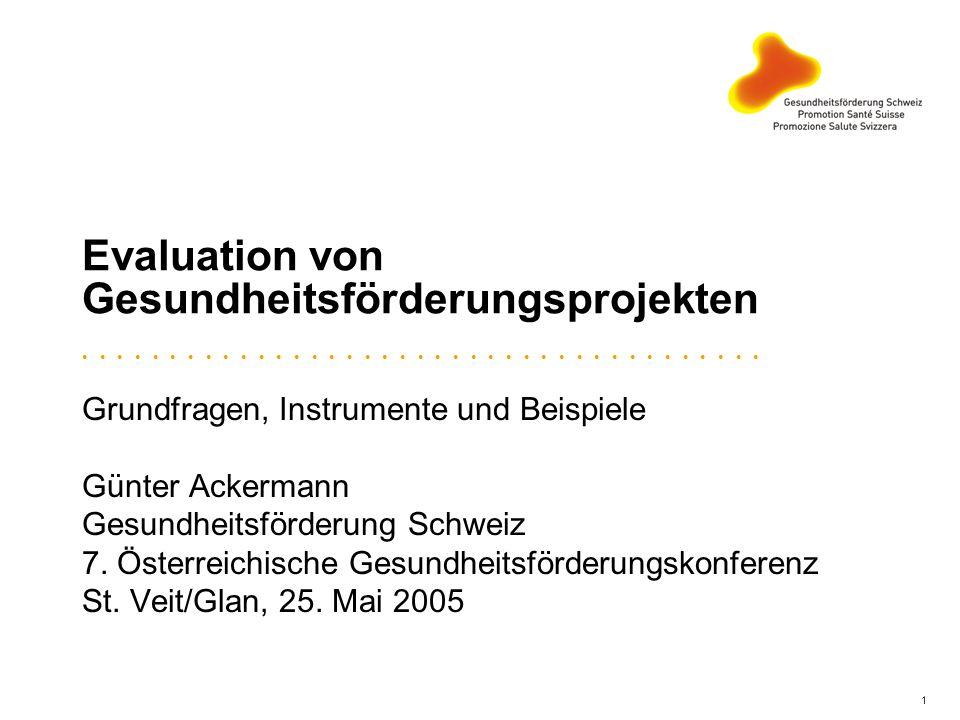 1 Evaluation von Gesundheitsförderungsprojekten Grundfragen, Instrumente und Beispiele Günter Ackermann Gesundheitsförderung Schweiz 7. Österreichisch