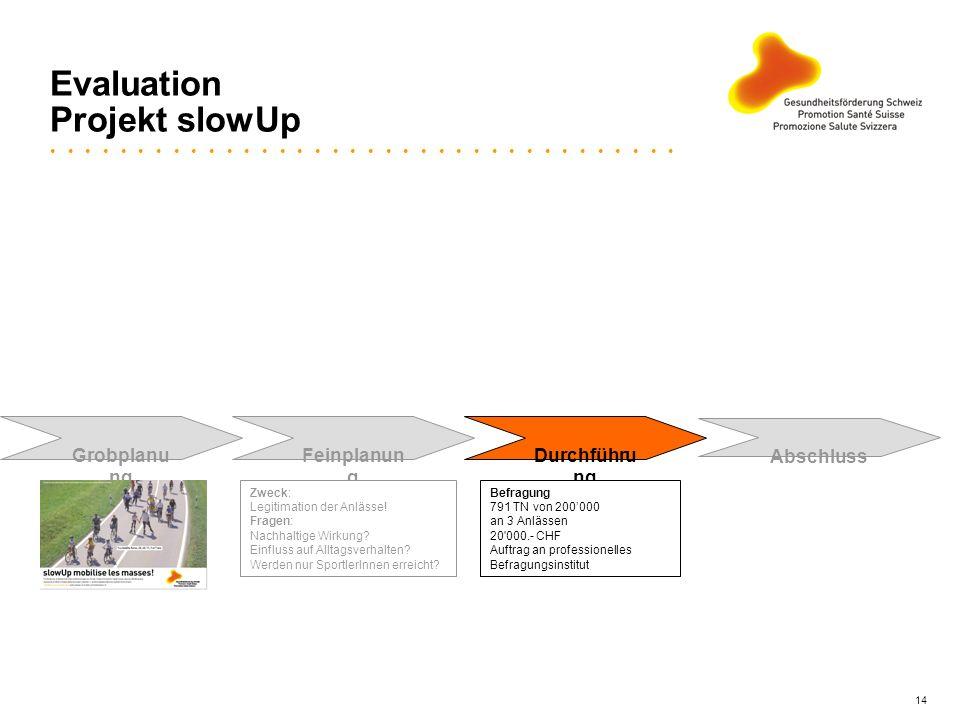 14 Evaluation Projekt slowUp Grobplanu ng Feinplanun g Durchführu ng Abschluss Zweck: Legitimation der Anlässe! Fragen: Nachhaltige Wirkung? Einfluss