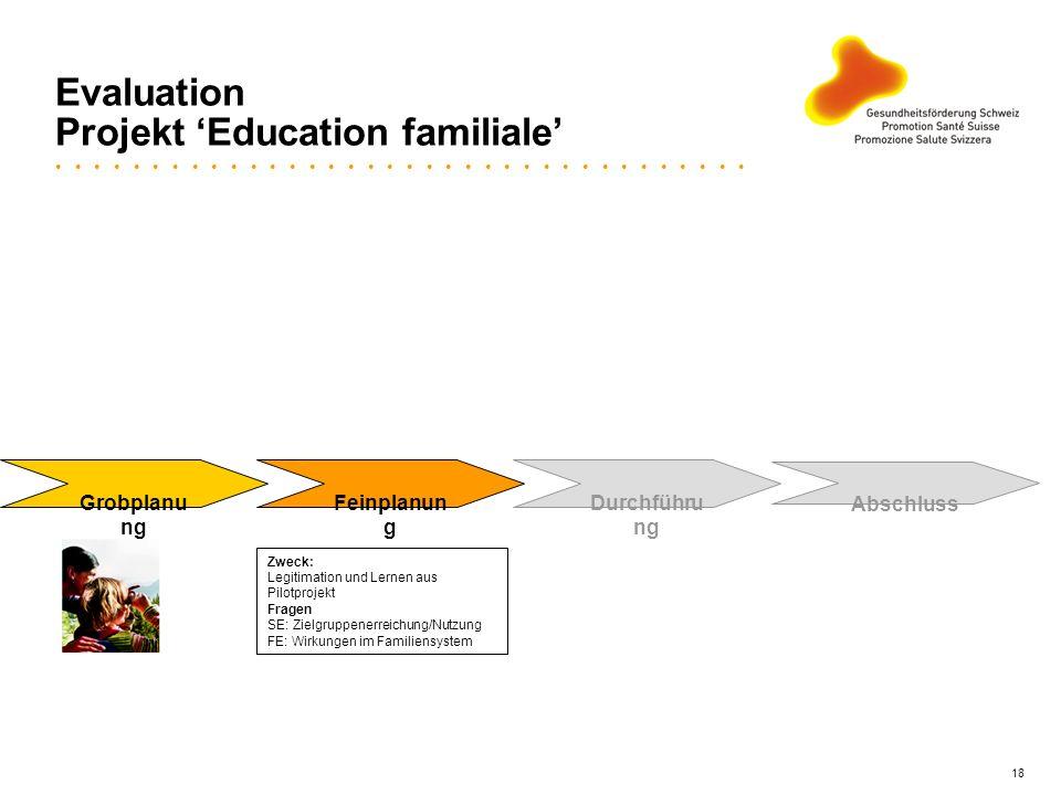 18 Evaluation Projekt Education familiale Grobplanu ng Feinplanun g Durchführu ng Abschluss Zweck: Legitimation und Lernen aus Pilotprojekt Fragen SE: