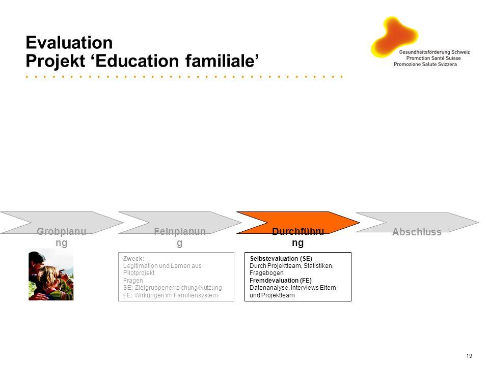 19 Evaluation Projekt Education familiale Grobplanu ng Feinplanun g Durchführu ng Abschluss Zweck: Legitimation und Lernen aus Pilotprojekt Fragen SE: