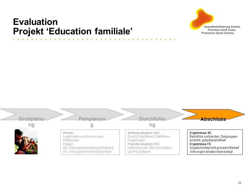 20 Evaluation Projekt Education familiale Grobplanu ng Feinplanun g Durchführu ng Abschluss Zweck: Legitimation und Lernen aus Pilotprojekt Fragen SE: