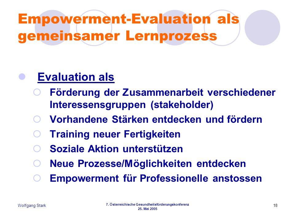 Wolfgang Stark 7. Österreichische Gesundheitsförderungskonferenz 25. Mai 2005 18 Empowerment-Evaluation als gemeinsamer Lernprozess Evaluation als För